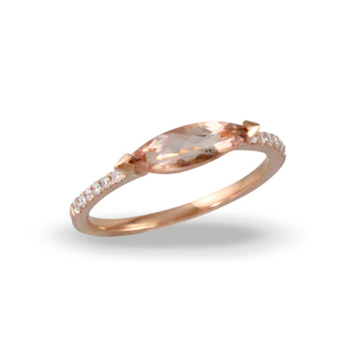 18K Rose Gold Morganite Engagement ring Solitaire Stone - Little Bird Collection