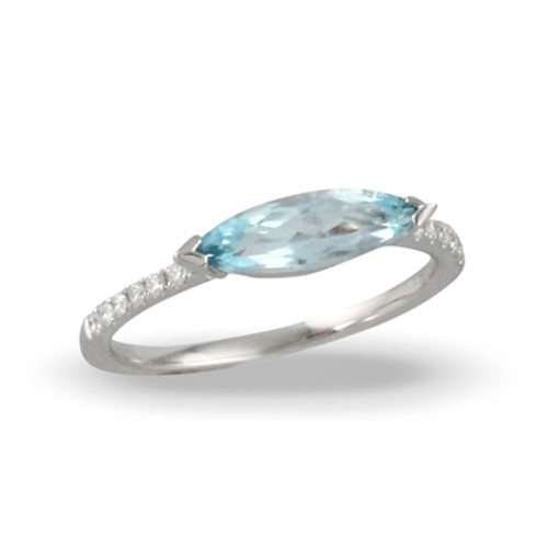 18K White Gold Blue Topaz Engagement Ring Solitaire Style - Little Bird Collection