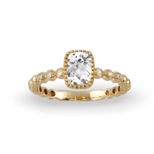 18K White Gold White Topaz Engagement ring - Little Bird Collection