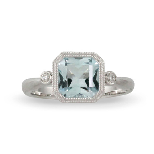 18K White Gold Blue Topaz Engagement Ring - Little Bird Collections