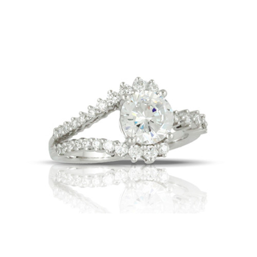 18K White Gold CZ Stone Engagement ring - Little Bird Collection