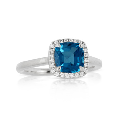 18K White Gold London Blue Topaz Engagement ring - Little Bird Collection