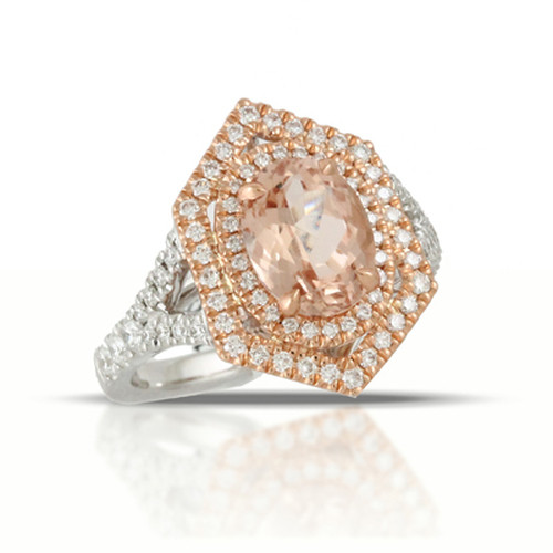 Double Halo-Rose Gold-White Gold Engagement Ring