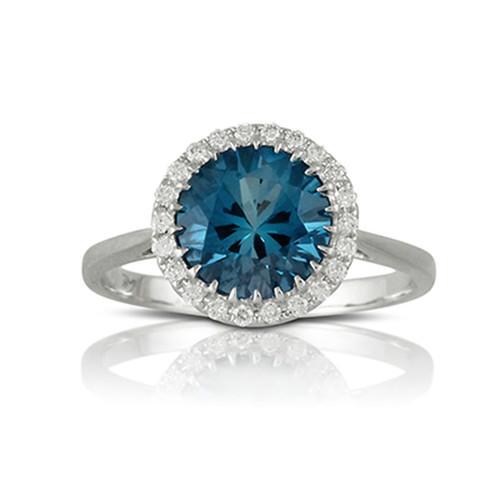 London Blue Topaz-Engagement Ring-18K White Gold