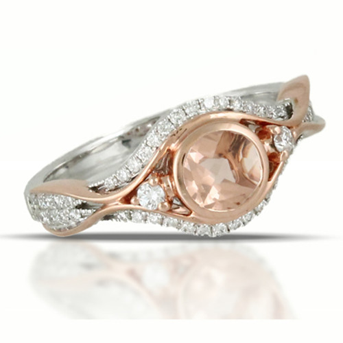 18K Rose Gold and White Gold Morganite Ring - Little Bird Collection