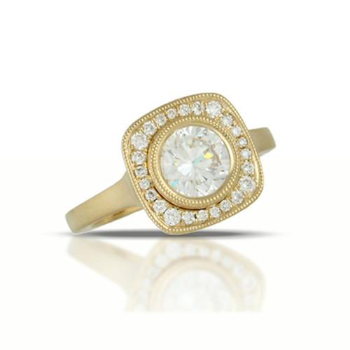 CZ Stone-Engagement Ring-Yellow Gold 18K