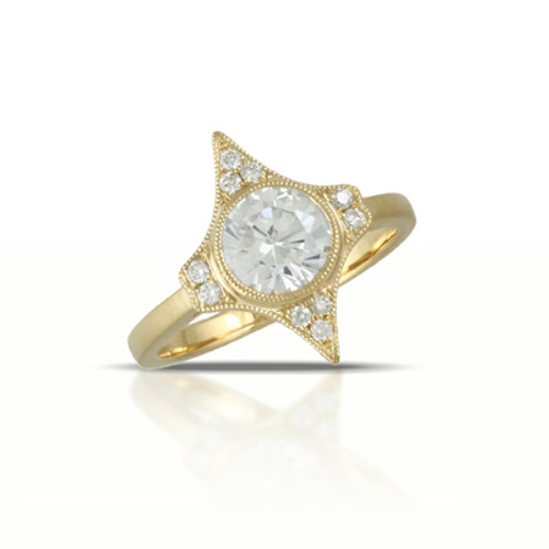 18k Yellow Gold CZ Engagement Ring - Little Bird Collection