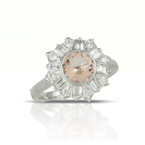 18K White Gold Morganite Stone Engagement Ring - Little Bird Collection