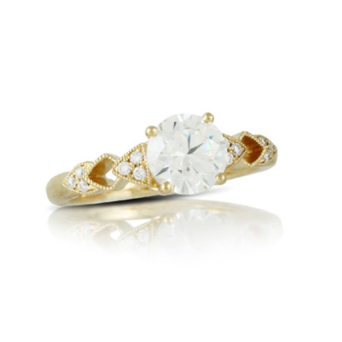18k Yellow Gold CZ Stone Ring - Little Bird Collection