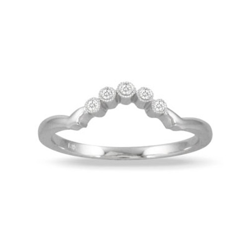 18K White Gold Diamond Band With Milligrain - Little Bird Collection