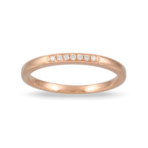 18K Rose Gold Diamond Band With Milligrain - Little Bird Collection