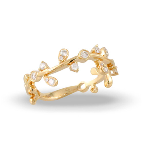 18K Yellow Gold Band With Diamonds- Little Bird Collection