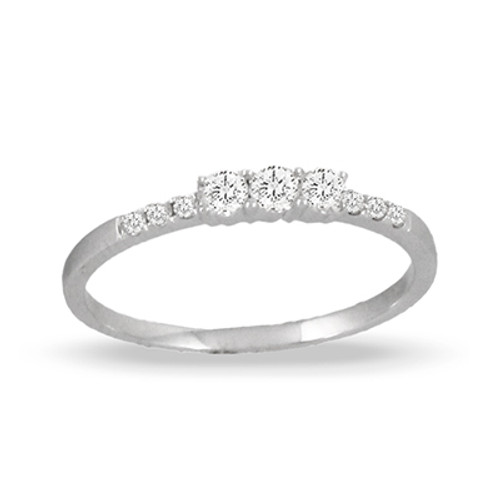 18K White Gold Diamond Wedding Band - Little Bird Collection