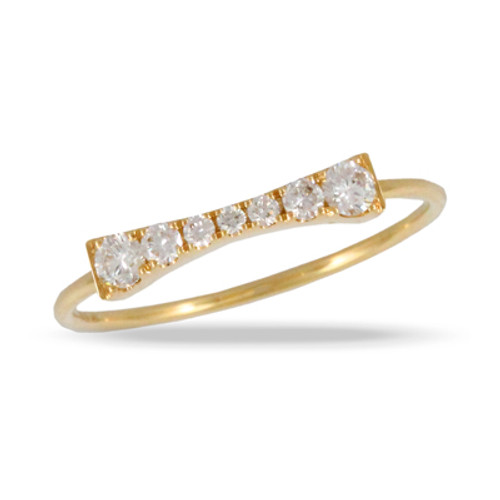 18k Yellow Gold Diamond Wedding Band - Little Bird Collection