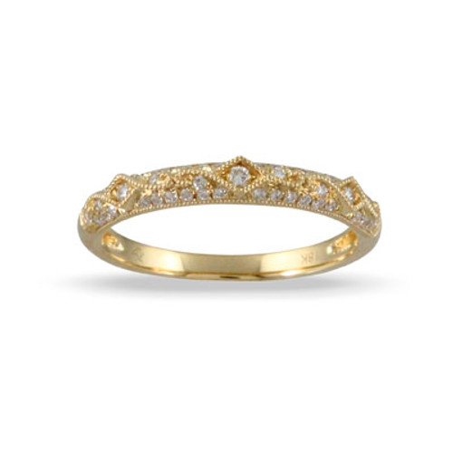 18k Yellow Gold Wedding Bands With Diamonds - Little Bird Collection
