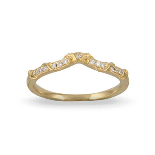 18k Yellow Gold Wedding Band With Diamonds - Little Bird Collection
