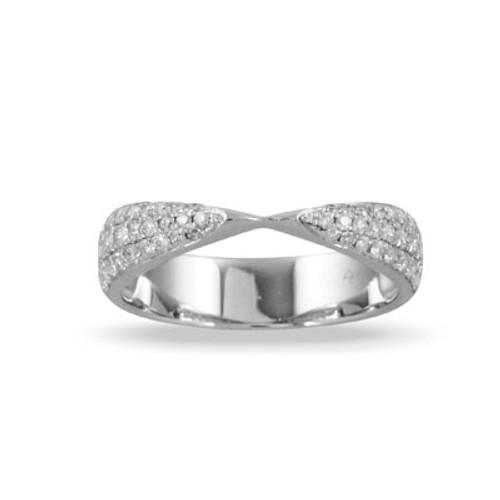 18K White Gold  Diamond Wedding Band- Little Bird Collection