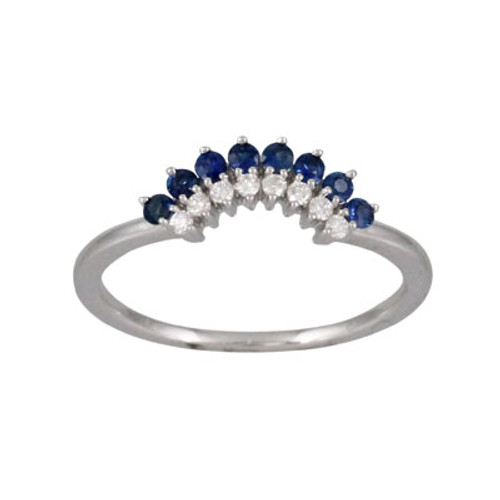 18K White Gold Diamond And Sapphire Wedding Band - Little Bird Collection