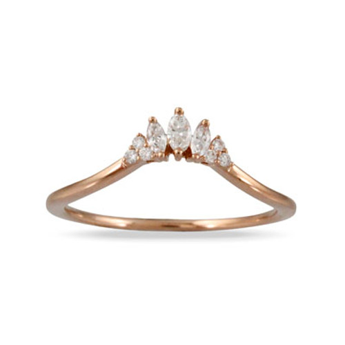 18K Rose Gold Wedding Band Sets With Diamonds - Little Bird Collection