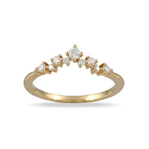 18k Yellow Gold Wedding Band Sets With Diamonds - Little Bird Collection