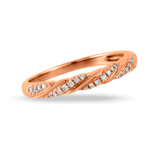 18K Rose Gold Band Sets With Diamonds- Little Bird Collection