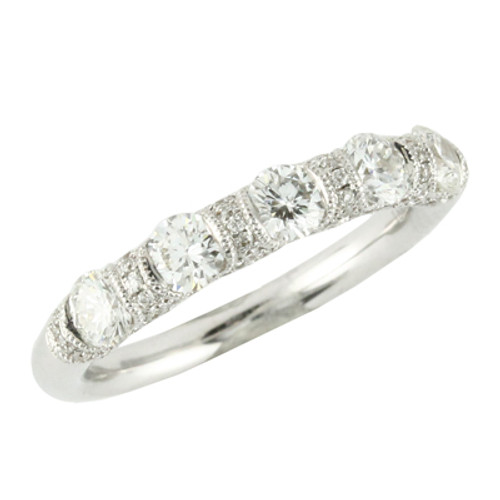 18K White Gold Band With Diamonds - Little Bird Collection