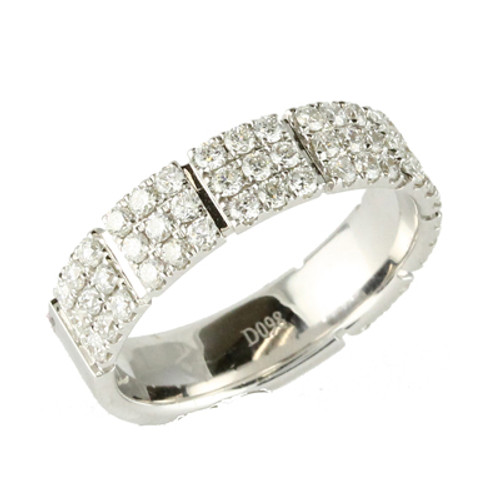 18K White Gold Wedding Band With Diamonds - Little Bird Collection
