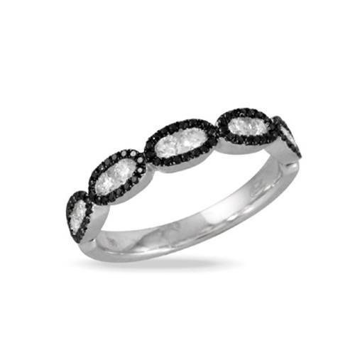Black and White Diamonds Women's Wedding Band-18K White Gold - Little Bird Collection