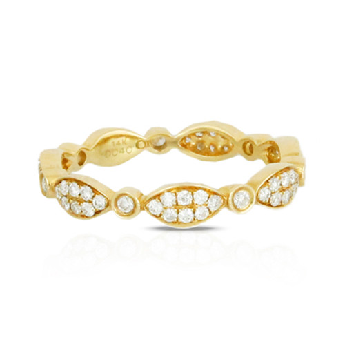 18K Yellow Gold Band with Diamonds - Little Bird Collection