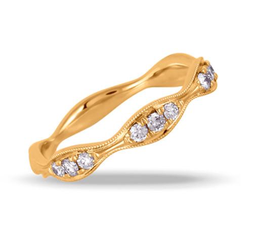18k Yellow Gold Diamond Wedding Band - Little Bird Collections