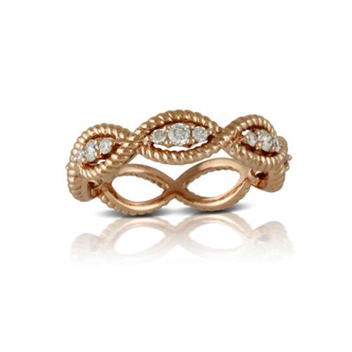 18K Rose Gold Band Diamond Ring - Little Bird Collection