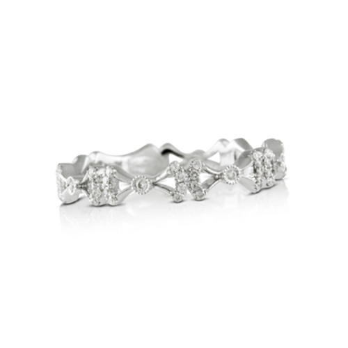 18K White Gold Band With Diamonds - Little Bird Collections