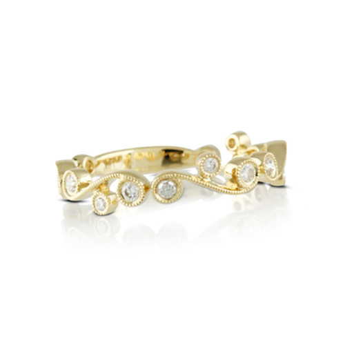 18k Yellow Gold Wedding Band with 15  Diamonds - Little Bird Collection