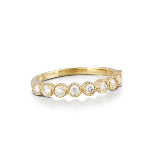 18k Yellow Gold Ring Diamond Wedding Band - Little Bird Collection