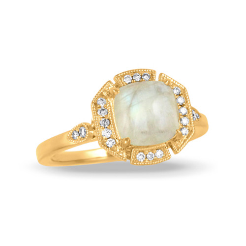 18k Yellow Gold Diamond Ring With White Topaz Center - Little Bird Collection