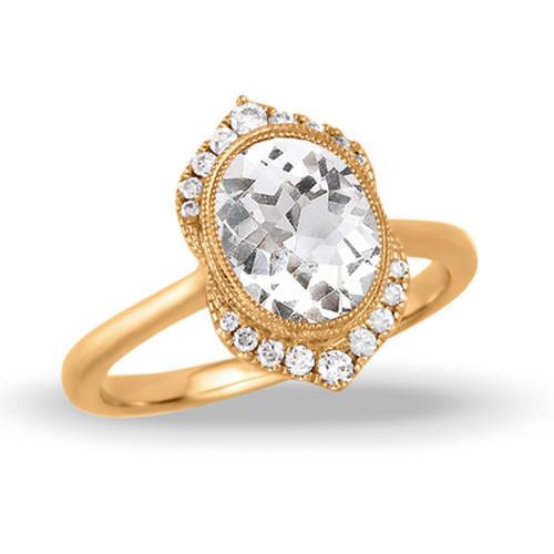 Halo-Diamond Engagement Ring-White Topaz-18K-Yellow Gold-Little Birds