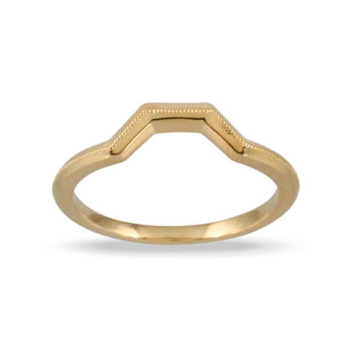 18k Yellow Gold Band With Milligrain - Little Bird Collection