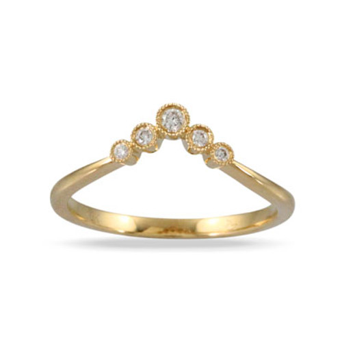 18k Yellow Gold Band With Diamond Center - Little Bird Collection