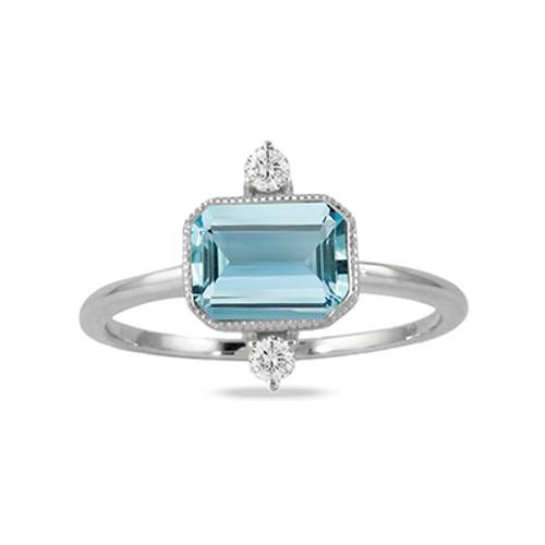 18K White Gold Diamond Ring With Sky Blue Topaz Center - Little Bird Collection