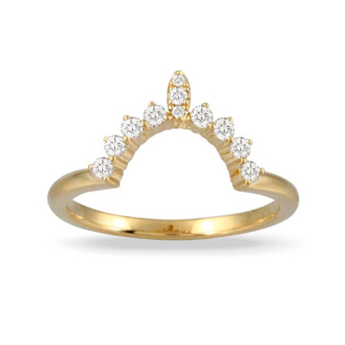 18k Yellow Gold Wedding Band With 11 Diamonds- Little Bird Collection