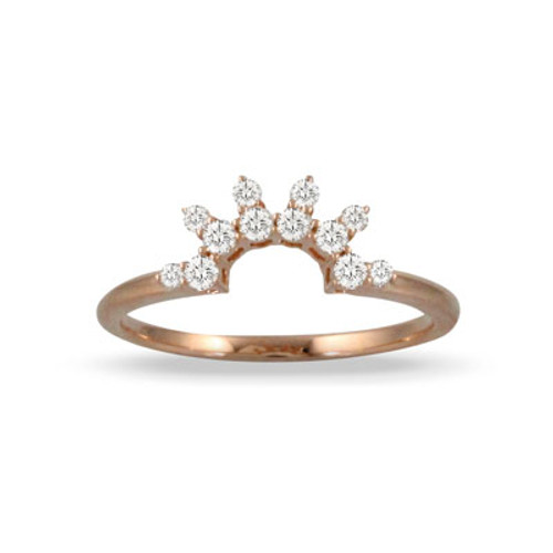 18K Rose Gold Wedding Band With 12 Diamonds - Little Bird Collection