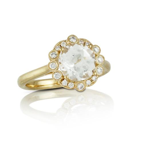 White Topaz-Engagement Ring-Halo Style-18K Yellow Gold