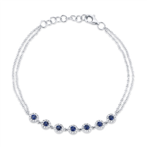 14K White Gold Bracelet With Sapphire