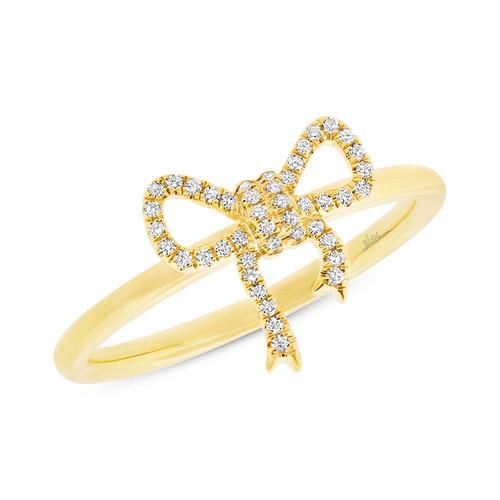 14K Yellow Gold Bow tie Diamond Ring