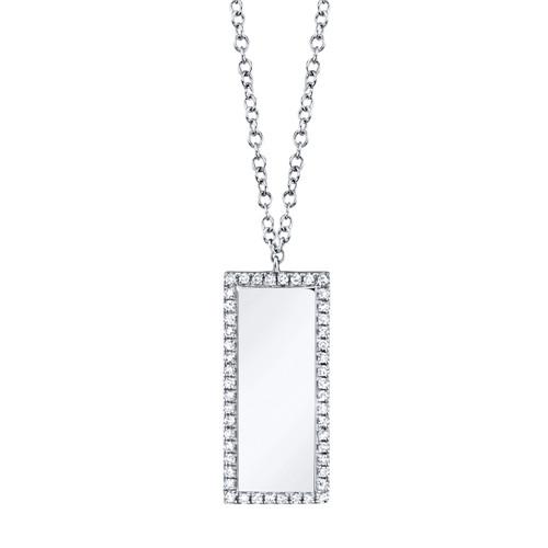 14K White Gold diamond Bar ID Necklace