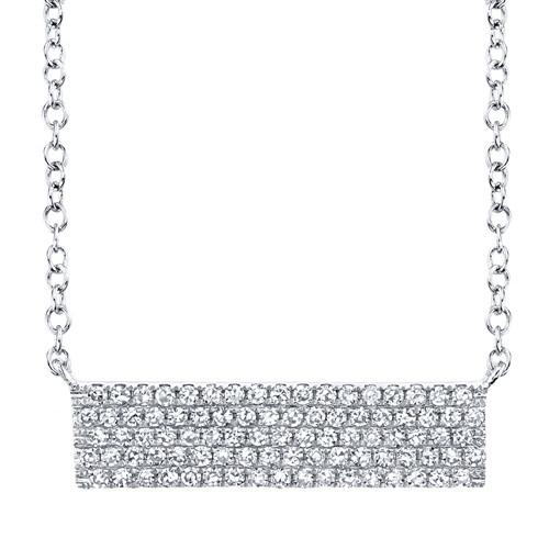 14K White Gold Shiny Diamond Pave Necklace