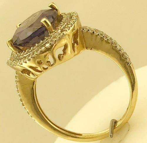 14k Yellow Gold Double Halo Purple Baha'i Ringstone