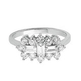 9ct White Gold Baguette Cut Cubic Zirconia Cluster Ring