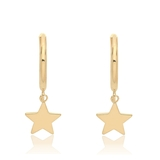 Theia Collection   9ct Gold Star Charm Hoop Earrings