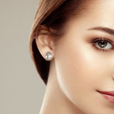 9ct White Gold Pearl Knot Stud Earrings